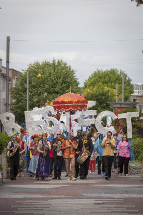 Big Festival Weekend 2015 Respect Festival Parade wides its way from the Guildhall to the Plymouth University Campus