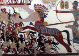Ramesses II in his war chariot charging into battle against the Nubians