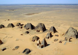 Aerial view at Nubian pyramids, Meroe