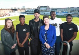 Rio Ferdinand and Liz Williams surprises a group of young people, (left to right) Jade Harrison, Mohammed Ali-Conteh, Ibrahim Kanu and Michael Kuku to celebrate the partnership between BT and the Rio Ferdinand Foundation, at the Oval Cricket Ground, London.