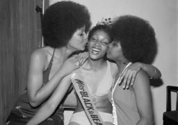 Raphael Albert, Miss Black & Beautiful Sybil McLean with fellow contestants, Hammersmith Palais, London, 1972. From the portfolio 'Black Beauty Pageants'. Courtesy of © Raphael Albert/Autograph ABP