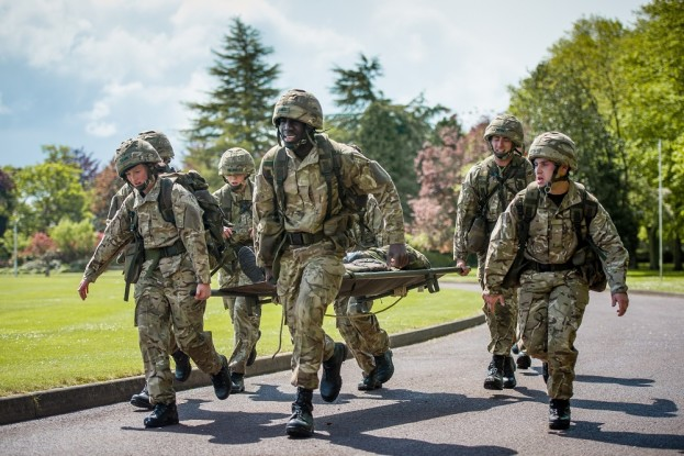 Officer Cadets taking part in Exercise Ultimate Challenge as part of Initial Officer Training at RAF College Cranwell.